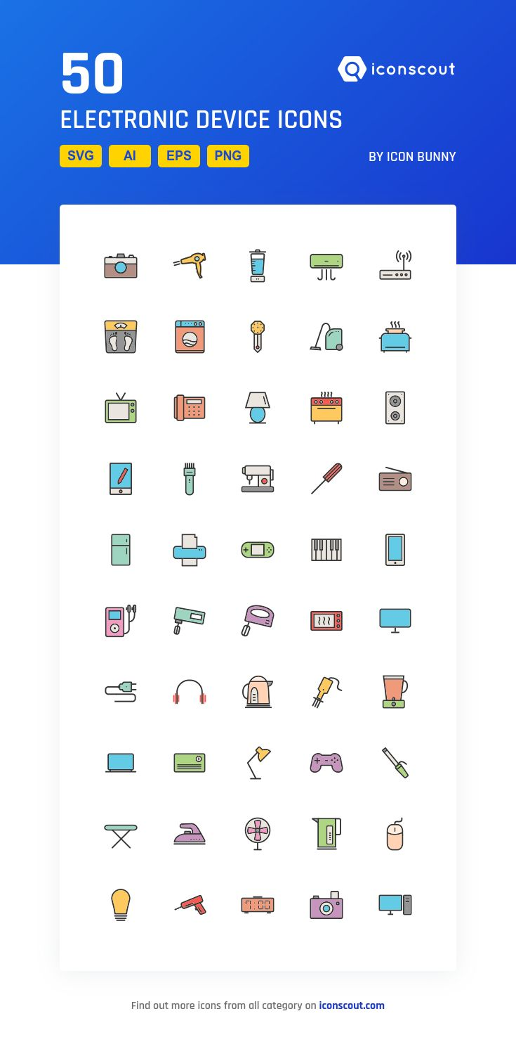 Electronic Device  Icon Pack - 50 Filled Outline Icons