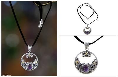 Citrine Amethyst and Sterling Silver Necklace Bali Jewelry - Frangipani Moon | NOVICA - Beautiful must have