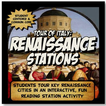 This content rich activity is student centered and interactive! The activity has 10 stations with a renaissance vocabulary activity and close readings detailing the roles of key cities, leaders, artists and contributions to the renaissance economy including: the Medici family, Leonardo Da Vinci, Michelangelo, Milan, Florence, Venice, Brunelleschi's Dome, Marco Polo, Genoa and Rome.