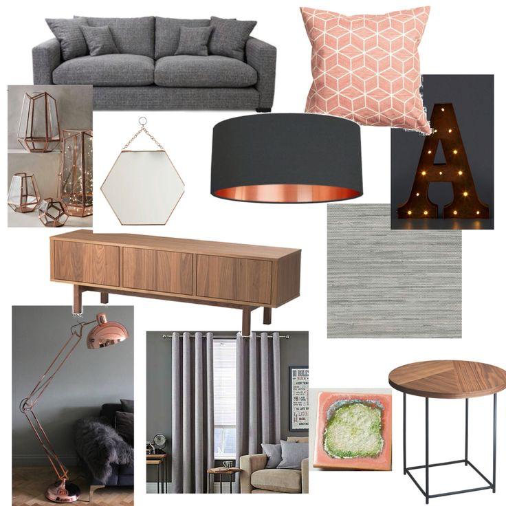 Grey, blush & copper living room