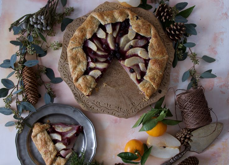 Korean Pear Galette with blueberries