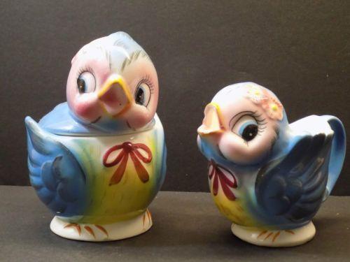 1950s-Vintage-Anthropomorphic-LEFTON-ESD-BLUEBIRD-Cream-Sugar-Set-Japan-7170