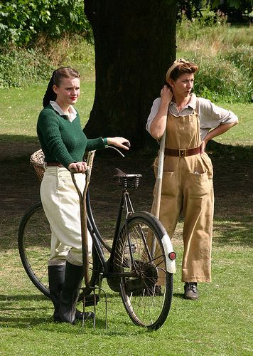 Second World War Landgirls with Bicycle