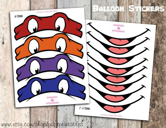 Teenage Mutant Ninja Turtle Balloon Sticker Set by pdotprintables