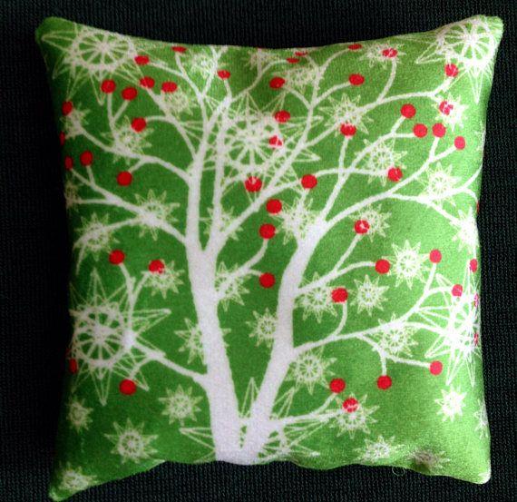 Winter Tree and berries printed velvet sachet cushion filled