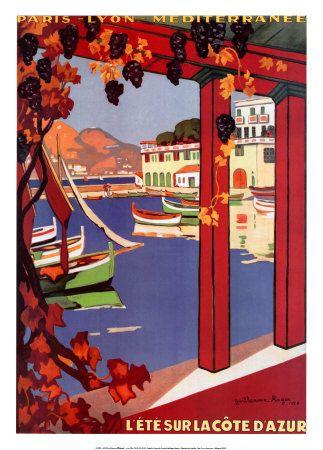 Vintage travel posters: Cote d'Azur
