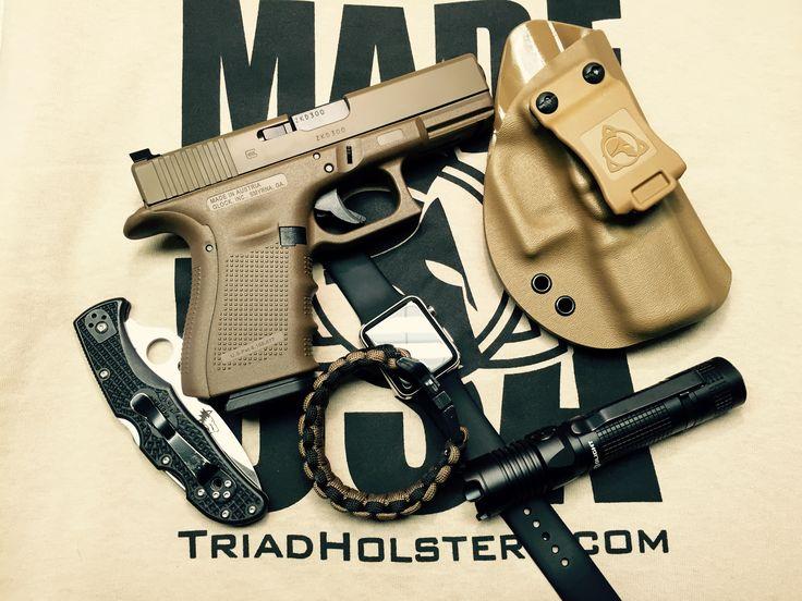EDC 2015, Glock 19 Full FDE, Trijicon HD Night Sights, Triad Holsters LLC Zeus Holster, Spyderco Endura, Emerson Wave Lonewolf Distributing Edition, Olight Strike 1000 Lumen Flashlight. Lets see your EDC for 2015.