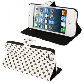 iPhone 5/5S Cases : Dot Leather Case for iPhone 5 & 5s - White