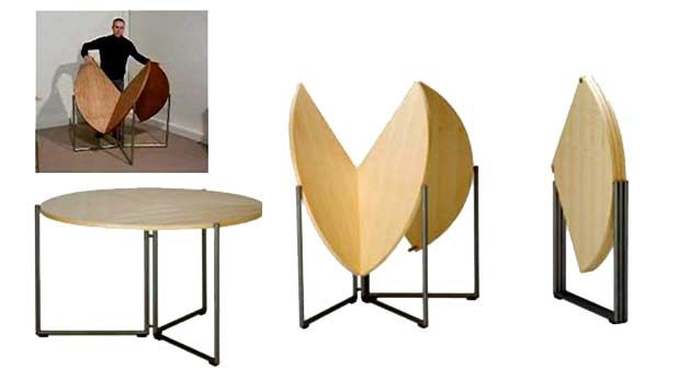 The F2 Table from Nils Frederking stands out as being one of the fastest tables to set up and fold away. You don't have to store the extension leaves in a separate place, because the extension leaves simply fold in together with the table. A steep price at $2,720, but brilliant modern design