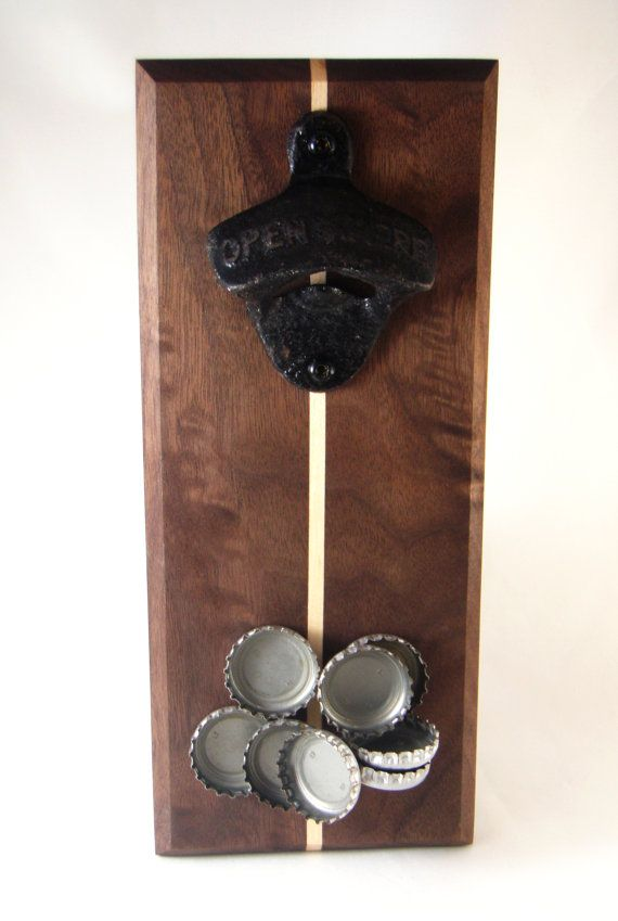 Wall mount bottle opener with magnetic cap by Whiterabbitwood