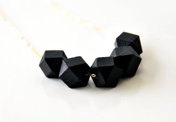 Geometric wooden black necklace