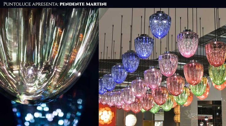 pendente Martini, em policarbonato semi metalizado