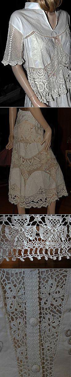 Комбинированное вязание с тканью.