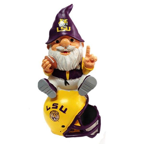 #LSU #garden #gnome LSU Tigers Team Gnome on Helmet - Only $25