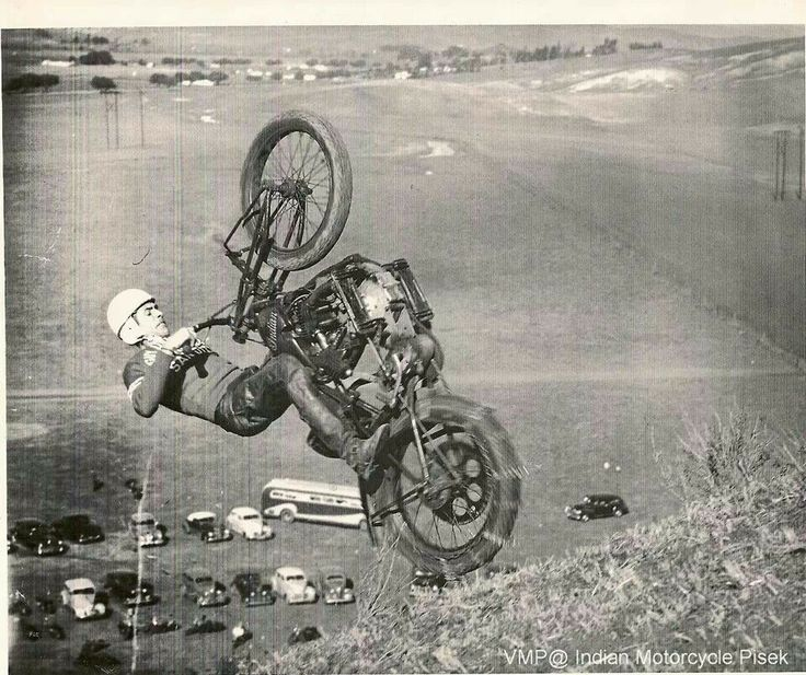 An Indian Motorcycle hill climb accompanied with a necessary helmet. My Dad had one, so cool back in the 50's.