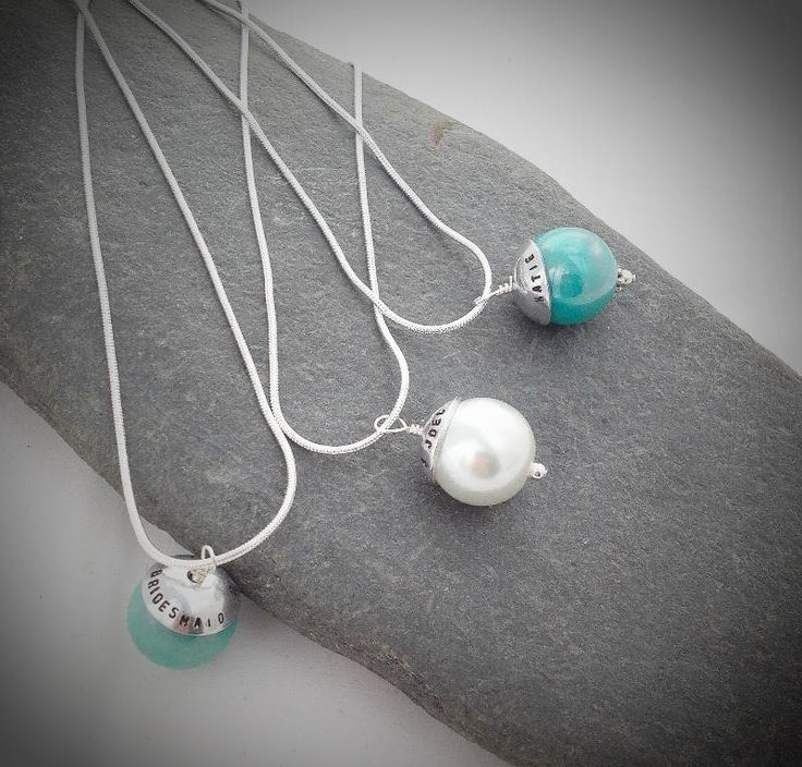 Matching necklaces for Bride and Bridemaids, personalised on the bead cap