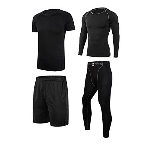 Vogvigo Gym Outfit Quick Dry Running Compression Tights, Basketball Shorts Men(XXL,Black). PACKAGE INCLUDING: 1pcs Compression Long Sleeve Shirt + 1pcs Compression Tight + 1pcs T-Shirt+ 1pcs Shorts. COMPRESSION MATERIAL: Polyester and Spandex 4 Ways Stretch Fabric make you more Soft and Cool in the sport, Machine Washable. Shorts Material: With the Breathable Soft Durable Polyester, it keeps Original Shape after washing. FEATURES:Vogvigo Men's Gym Outfit with series of Functions of High...