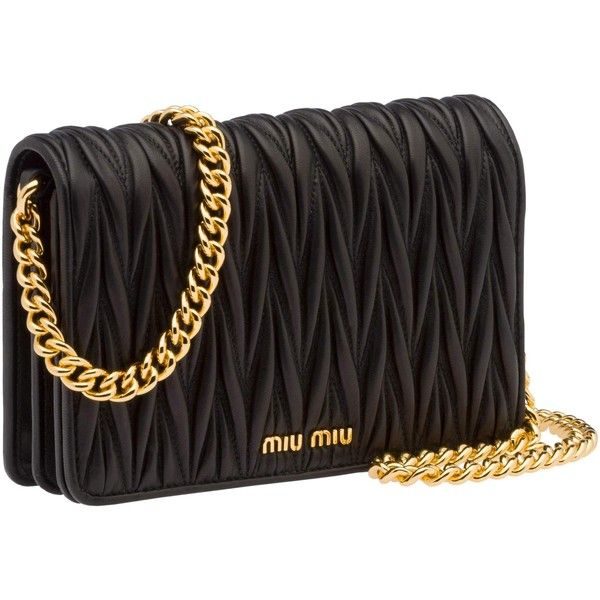 Miu Miu Clutch ($1,130) ❤ liked on Polyvore featuring bags, handbags, clutches, black, miu miu handbags, zipper purse, chain purse, pocket purse and chain handbags