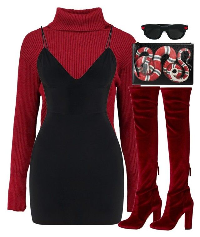 """""""$nakes"""" by slaynia ❤ liked on Polyvore featuring Boohoo, Yves Saint Laurent, Aquazzura and Gucci"""