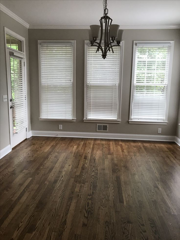 Revere pewter paint with provincial floor stain. Remodel