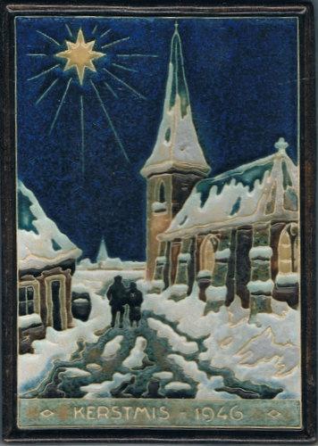 Dutch Christmas tile 1946, Delft.