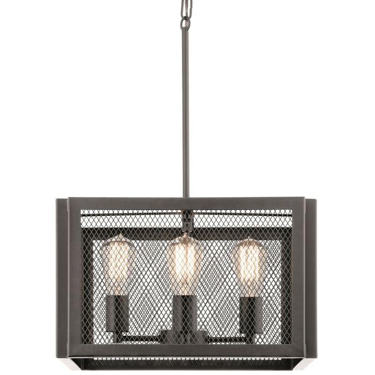kichler lighting saybridge 16in bronze industrial single cage pendant