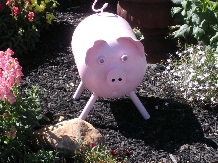 Pig made from empty freon tank yard art my husband made
