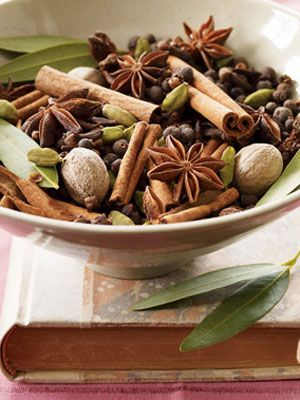 [ DIY: Winter Rose Potpourri ] Using: dried rose petals; 1⁄4 cup whole cloves; 1 cup whole allspice; 10 (3-inch) cinnamon sticks, broken into pieces; 8 small bay leaves; 4 whole nutmeg; 3 Tbsp star anise; 2 Tbsp whole cardamom pods. ~from womansday.com