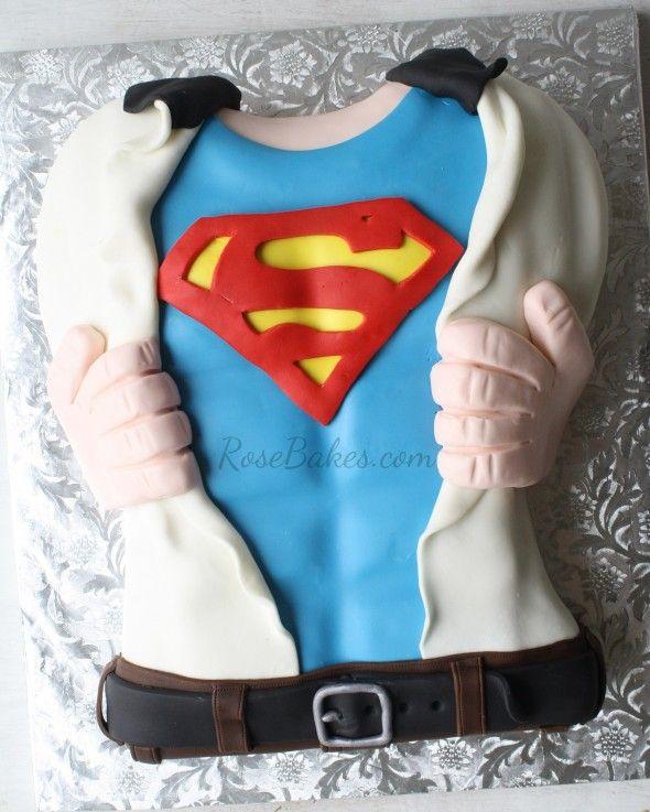 Superman Tearing Open His Shirt Cake