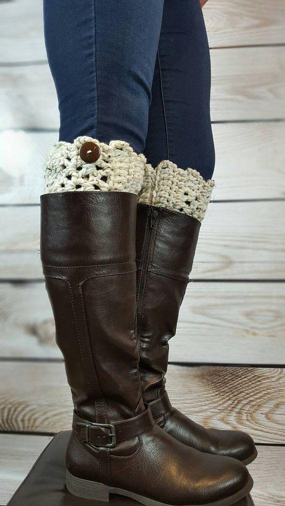 Crochet Boot Cuffs - Crochet Boot Toppers - Crochet Boot Socks - Custom Boot Cuffs - Custom Color Boot Cuffs - Boot Cuffs - 36 Color Options