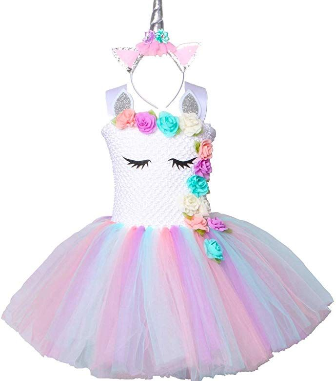3T,4T,5T,6T,7T Birthday Party Costumes Set Sparkling Unicorn Tutu Skirt and Unicorn Headband Outfit for Girls 2T