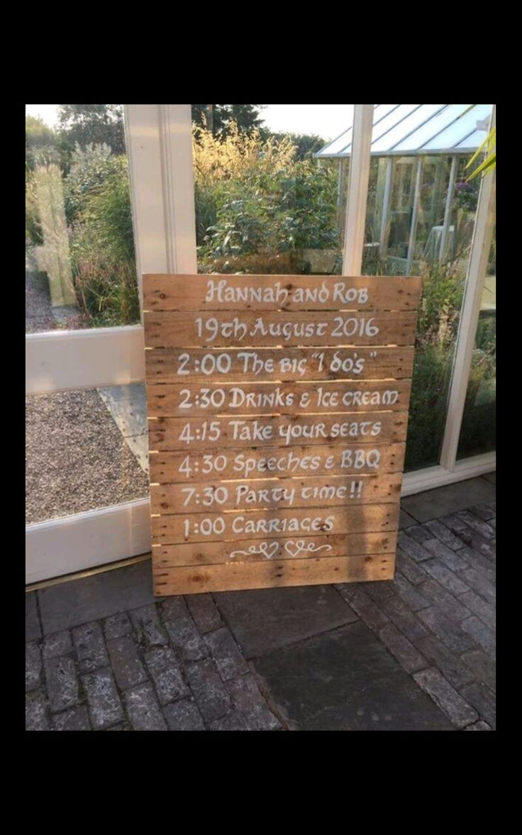 Rustic Wedding pallet sign- Order of the day  DaisySykes Designs joannsykes@yahoo.co.uk