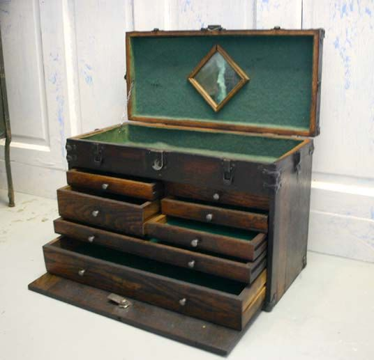 Vintage Oak Machinist Tool Chest Box-- lots of these available on ebay. Perhaps an embroidery floss storage solution?