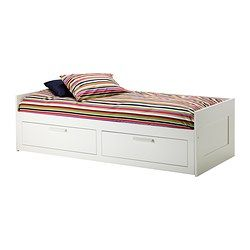 BRIMNES Daybed frame with 2 drawers - IKEA.Considering this over the camp cot I am currently using.