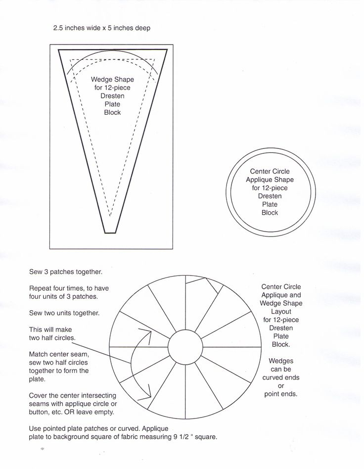 12 Piece Dresden Plate Template To Print Wedge Is 5 In