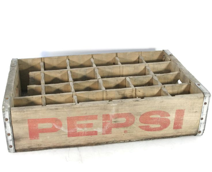 Wooden crate pepsi cola crate pepsi bottle crate for Wooden soda crate ideas