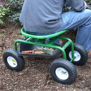 We all know at least one gardener whose life would be changed by the Tractor Seat Scoot. Imagine being able to spend a day in the garden again, without worrying about knees giving out, back aching, or muscles locking up! This low-tech, ultra-sturdy little vehicle is the answer to many a prayer, and we urge you to give it a try this season.The principle is that it's a tractor seat on wheels, with no motor but with 360-degree swivel capacity, so that you basically sit in comfort in the garden…