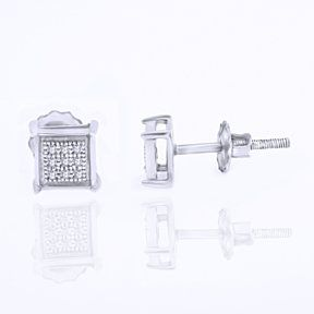 1/20 Ct Round Cut D/VVS1 Diamond 14K White Gold Over Square Stud Earrings $999 by JewelryHub on Opensky
