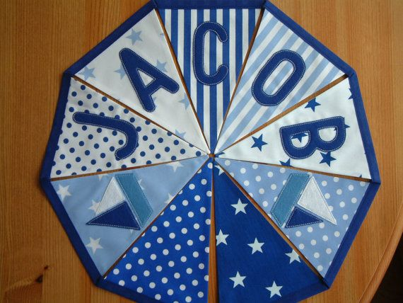 Nautical blue personalised banner bunting. by patchworkpawprint, £1.99