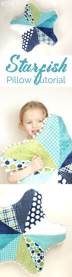 Starfish Pillow Tutorial, such a fun and easy sewing project that you can complete in an afternoon with 1 cuddle cake!