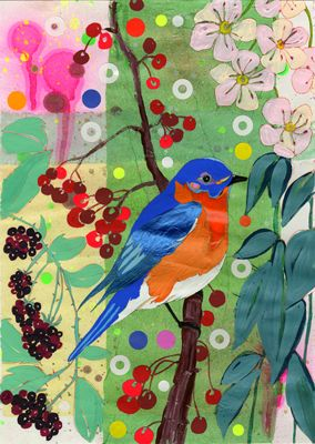 blue bird and blossoms -- more bird art for the bedroom..