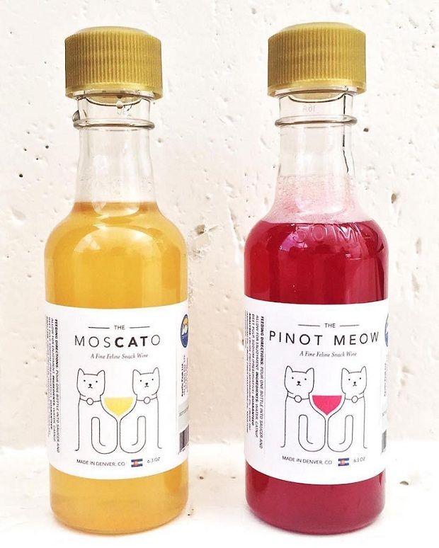 Vinhos para gatos feitos com catnip - Pinot Meow e MosCATo;