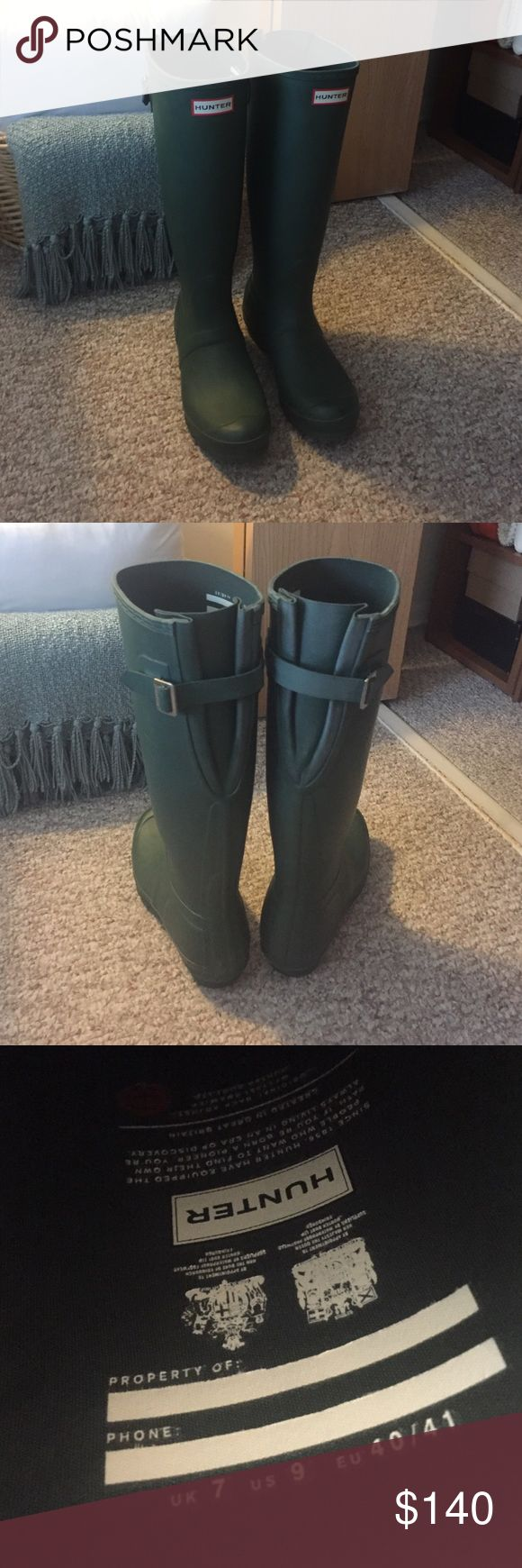 Tall Matte Green Wide Calf Hunter Boots Brand new, worn once for apple picking! lol perfect condition, matte green color, wide calf style so very comfortable. Size 9. Hunter Boots Shoes Winter & Rain Boots
