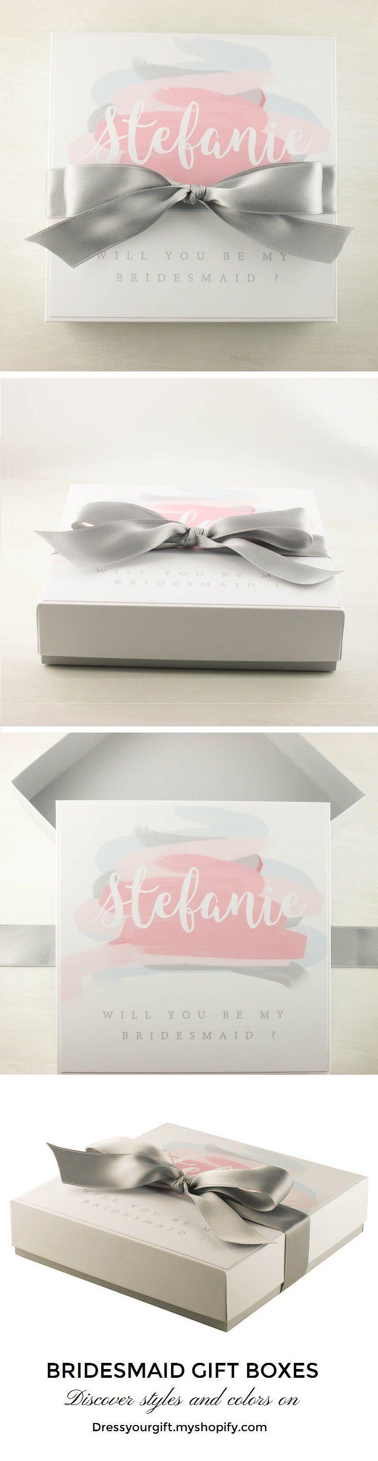 Personalized asking bridesmaid box with grey satin bow #bridalshowergift #bridalshowerpresent #maidofhonorproposal #demoiselledhonneur #damadehonor #trauzeugin #brautjungfern