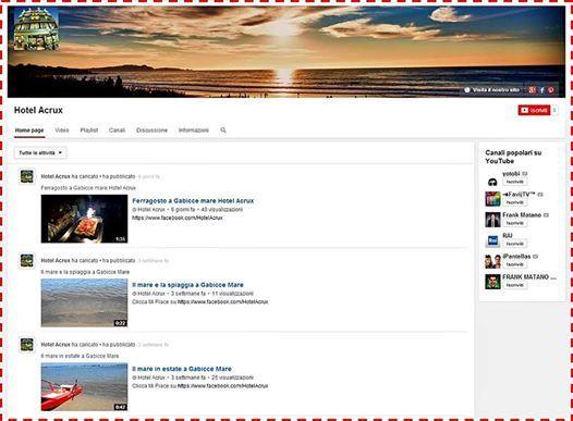 Sul nostro canale YouTube abbiamo caricato alcuni video e presto ne caricheremo tanti altri.  Iscrivetevi e rimanete aggiornati con noi https://www.youtube.com/user/HotelAcrux #hotelacrux #youtube #gabiccemare