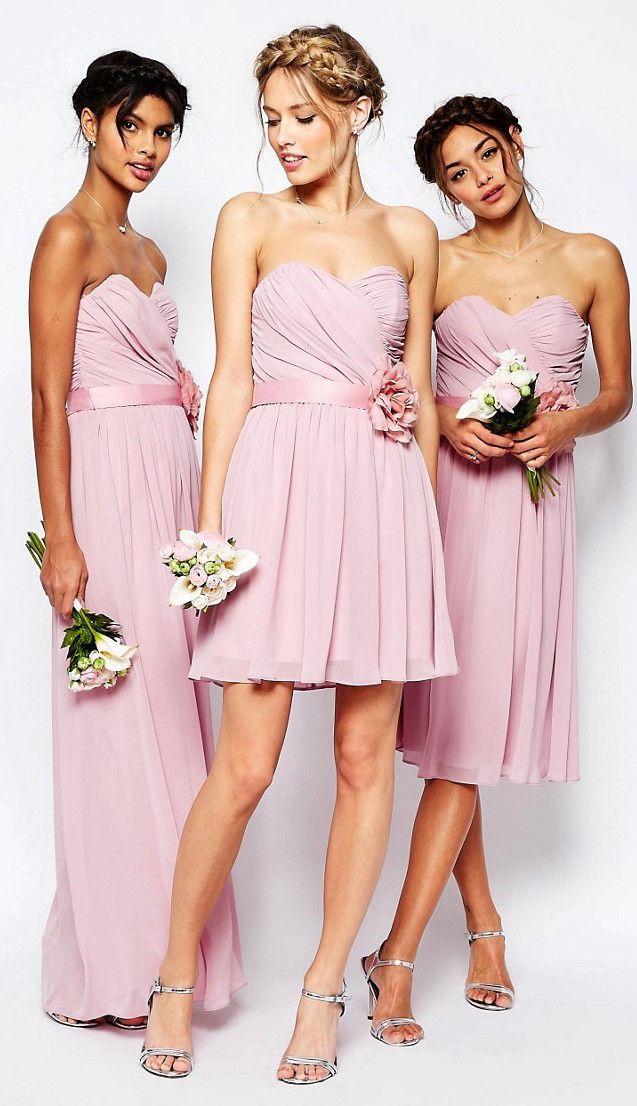 ASOS WEDDING Chiffon Bandeau Dresses With Detachable Corsage Belt