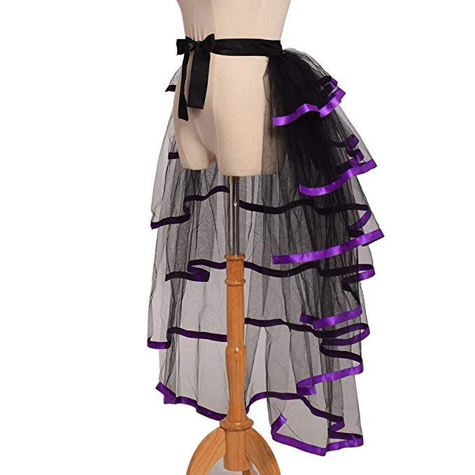 Ladies-Victorian-Steampunk-Accessory UNDERSKIRT BUSTLE with ties Black /& White