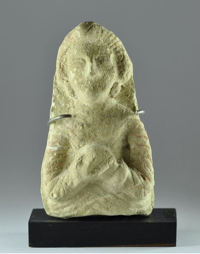Parthian pottery rattle, Parthian period Syria 2nd-3rd century A.D. Pottery rattle in form of a woman's bust, traces of original paint, 10.6 cm high. Private collection