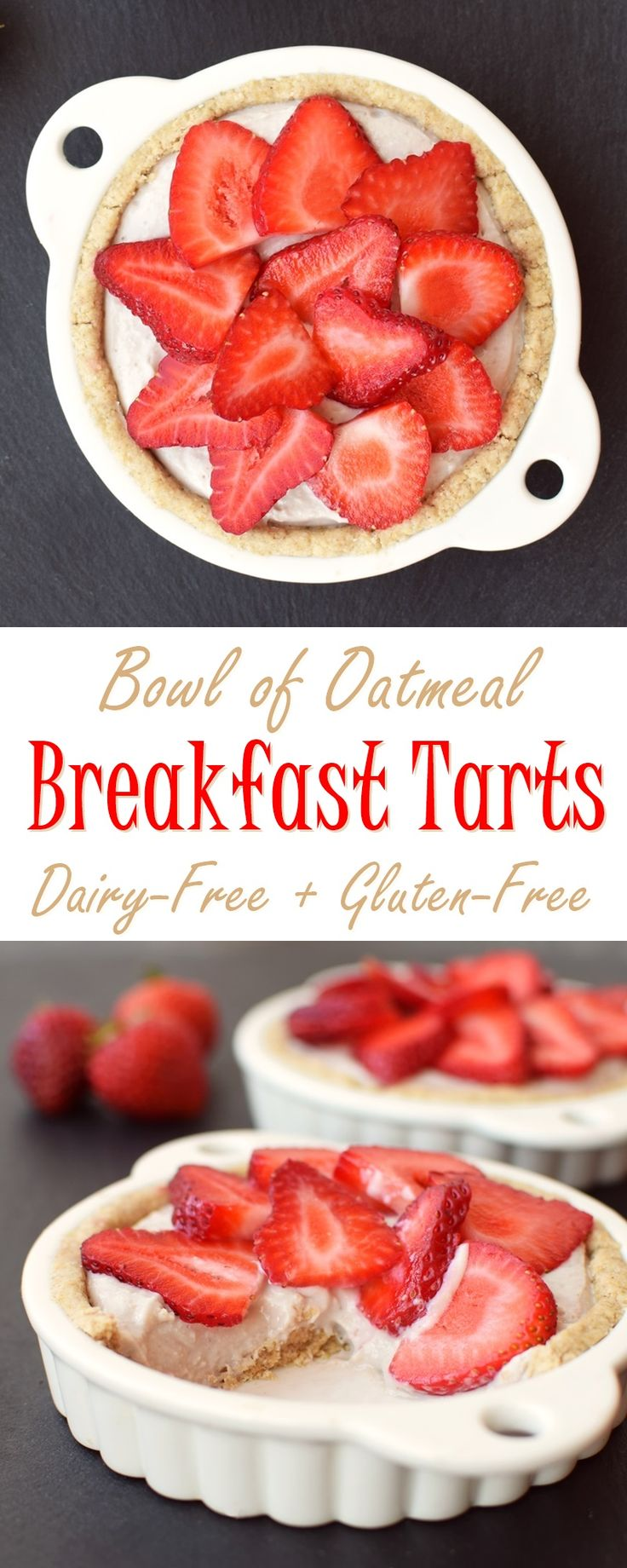 "Dairy Free Breakfast Tarts Recipe - ""Bowl of Oatmeal"" Crust with Creamy Fruit Filling (naturally healthy, gluten-free and plant-based) #doplants @lovemysilk make-ahead recipe!"