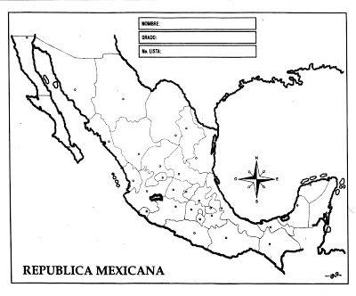 Mapa de la República Mexicana con división política, sin nombres